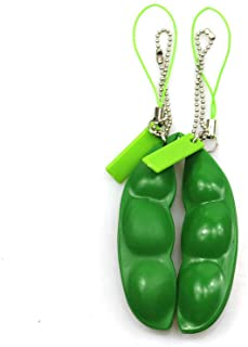 FCBB Fidget Toys 2Pack Squeeze-a-Bean Edamame Keychain Keyring Extrusion Bean Pea Soybean Stress Relieving Chain Phone Pen...