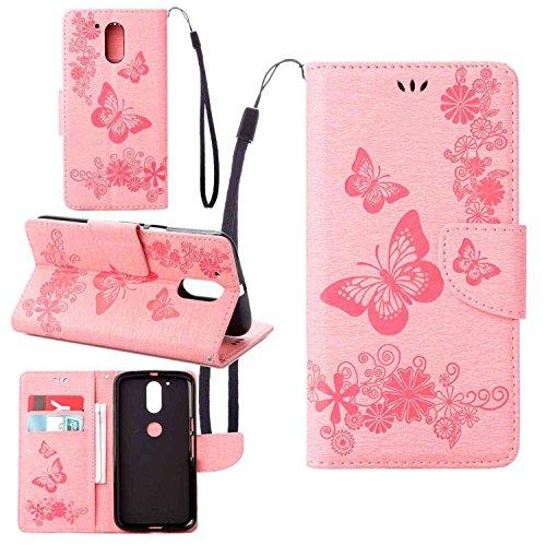 Schutzhülle Für Lenovo Moto G4 Plus (5.5 zoll) , pinlu® Handyhülle Hohe Qualität PU Ledertasche Brieftasche Mit Stand Function Innenschlitzen Design Groß Schmetterling Rosa