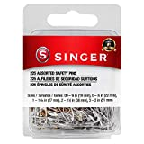 SINGER 00205 Safety Pins Value Pack, Assorted Sizes, 225-Count