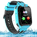 Themoemoe Kids Smartwatch Phone, Kids GPS Watch Waterproof SOS Camera Game Compatible with 2G T-Mobile Birthday Gift for Kids(S12B-Blue)