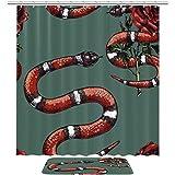 Bennigiry Lampropeltis Triangel & Rose Coral Royal Gestreiftes Duschvorhang-Set, Badezimmer-Zubehör, 182,9 x 182,9 cm, Polyester-Duschvorhänge & Badematte mit 12 Haken