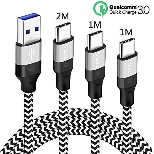 USB Type-C kabel 3A snel opladen voor Samsung Galaxy A70 A80 A50 A40 A20E M20 A51 A71, Xiaomi Redmi Note 7, Mi A1 A2 8 9 SE 9T, gevlochten nylon, type C 1M-1M 2M snellaadkabel, snel opladen 3.0