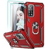 LeYi Hülle Kompatibel mit Xiaomi Mi 10T Pro 5G/10T 5G Handyhülle & Panzerglas Schutzfolie(2 Stück),360 Grad Ring Halter Handy Hüllen Cover Bumper Schutzhülle Hülle Rot