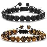 Hamoery Men Women 8mm Tiger Eye Stone Couple Bracelet Braided Rope Yoga Bead Bracelet Bangle (Set2)