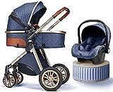 DERUKK-TY Combo de Asiento de Coche Ajustable para Cochecito de Alta Vista, Cochecito 2 en 1 para niña