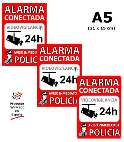 tu alarma SIN cuotas | Pack de 3 Carteles Alarma Conectada | Placas disuasorias A5 Interior/Exterior PVC Flexibles | Lote de 3 Carteles Aviso a la Policía | Zona Vigilada