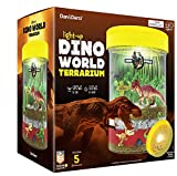 Light-up Dino World Terrarium Kit for Kids with LED Light on Lid - Dinosaur Toys - Create Your Own Customized Mini Dinosaur Garden in a Jar That Glows at Night - Science Kits - Gardening Gifts
