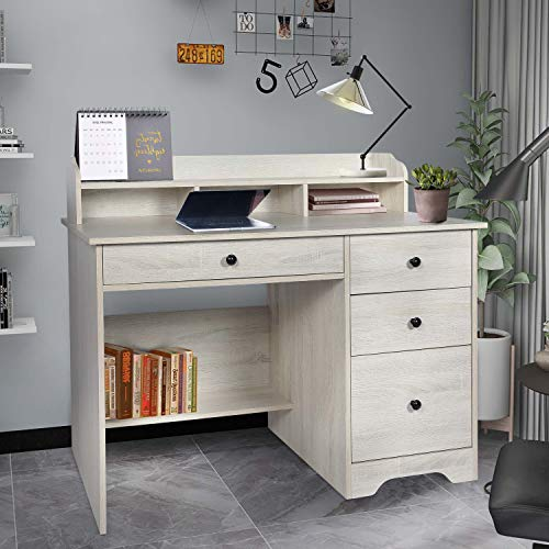 Computer Desk with Hutch and Drawers,Work Station,Student Writing Study Table for Home Office or Den (White Oak)