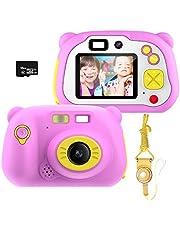 Geschenken voor digitale camera's voor kinderen voor meisjes van 3-12 jaar, Pancellent WiFi-camcorderspeelgoed Cadeau voor jongens 12.0MP 1080P-scherm en 16G-geheugenkaart, Kinderen met zachte siliconen omhulsel voor buitenspelen (roze)
