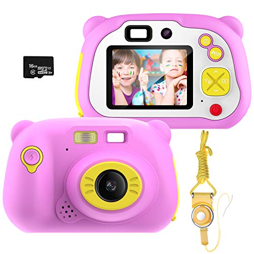Cámara para Niños con Tarjeta TF,Cámara Digitale Selfie para Niños,Video cámara Infantil con Pantalla de 2 Pulgadas,HD 1200 MP/1080P Doble Objetivo,a Prueba de Golpes,Carcasa de Silicona(Rosa)