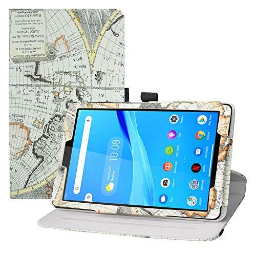LFDZ Funda Lenovo Tab M8 FHD,Cuero Sintético Rotación de 360 Grados de Función de Soporte para 8' Lenovo Tab M8 FHD (2nd Gen) TB-8705F Tablet(Not Fit Lenovo Tab M8 HD (2nd Gen) /Smart Tab M8),Mapa