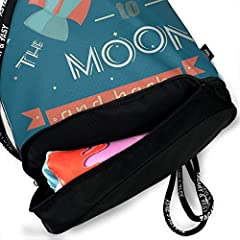 DPASIi Drawstring Backpacks Daypack Bags,Spaceship Galaxy Cosmos Valentines Theme Retro Inspirational Letters,Adjustable String Closure #2