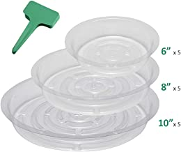 GROWNEER 15-Pack Clear Plant Saucer Drip Trays, with 15 Pcs Plant Labels, Plastic Plant Pot Saucers Flower Pot Set for Indoor Outdoor Garden, Assorted Sizes - 6/8/10 Inch, 5 Pcs of Each Size