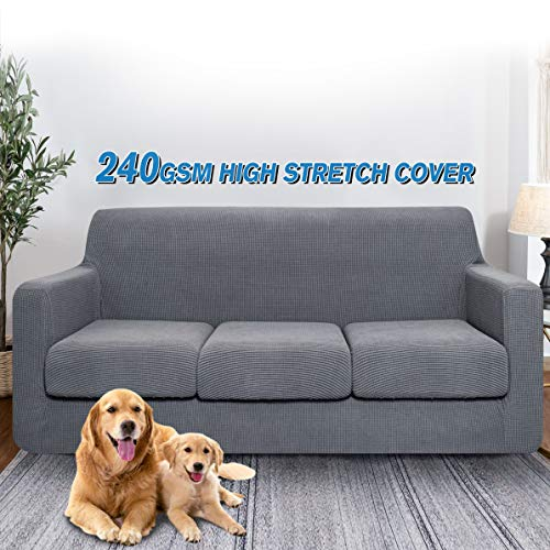 LuxAPP Stretch Sofa Cover for 3 Cushion, 4 Piece Couch Cover,Extra Thick Sofa Slipcovers,Furniture Protector with Elastic Bottom,Jacquard Cover for Pet,Spandex Fabric,Machine Washable(Large,Gray)