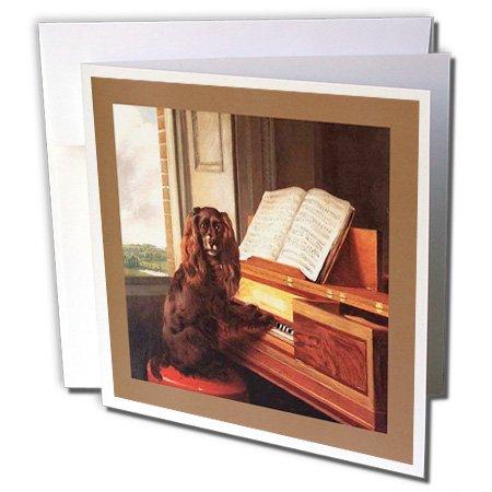 3drose foto van de beroemde schilderkunst van Dog N piano. jpg - Wenskaarten, 15,2 x 15,2 cm, Set 6 (GC 98607 1)
