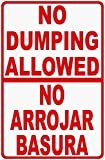 Joycenie Road Sign Aluminum Metal Sign Bilingual No Dumping Allowed Sign-Prevent Illegal Garbage-No Arrojar Basura Letrero Warning Sign Indoor and Outdoor 12x16 Inch
