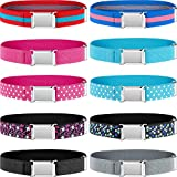 10 Pieces Kids Adjustable Buckle Belts Clasp Elastic Easy Belts with Buckle for Kids Toddlers (Bright Colors)