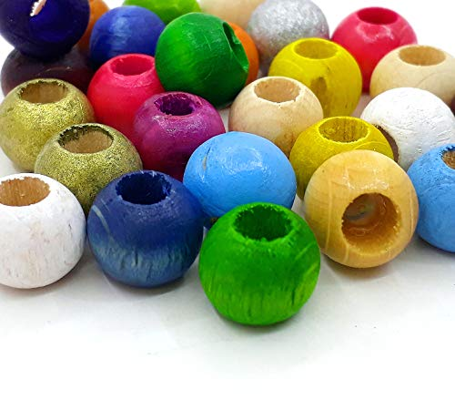200 perlas de madera de 10 mm, agujero grande de 4,5 mm, agujero grande para enhebrar, bolas de madera, redondas, multicolor, set para manualidades, bisutería