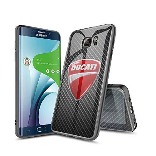 SeNMYlaO Covers per Samsung Galaxy S6 Edge Protezione Posteriore in Vetro temperato 9H, Custodia per Assorbimento Urti con Bumper Case Cover per Samsung Galaxy S6 Edge E#006