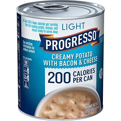 Progresso Light, Creamy Potato With Bacon and Cheese Soup, Gluten Free, 12 Cans, 18.5 oz