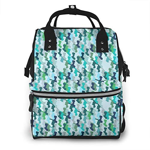 UUwant Sac à Dos à Couches pour Maman Large Capacity Diaper Backpack Travel Manager Baby Care Replacement Bag Nappy Bags Mummy Backpack,(Camouflage Seamless Bright Colorful Pattern