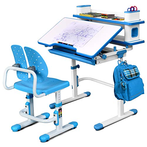 Baby Joy Kids Desk and Chair Set, Height Adjustable, Student Study Table w/Chair Ergonomic Winged Backrest, Children Writing Table with Bookshelf, Storage Drawer and Tilted Desktop (Blue)