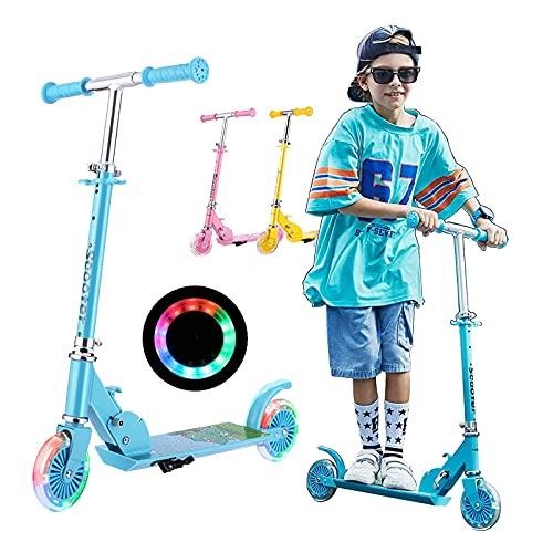 Kinder Scooter Klappbar, Soldow Kickscooter Kinder Roller Tretroller Cityroller Höhenverstellbarer kinderscooter mit LED PU Räder für Kinder ab 3-10 Jahre, Funscooter Kapazität bis zu 50kg