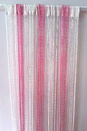 リタプロショップ? スクリーンタペストリー01 紐 のれん 部屋 仕切り ストリングス (ピンク, 100×200cm)