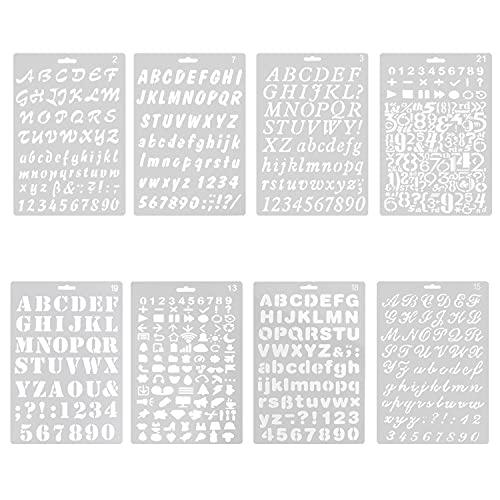 8Pcs Pochoirs à Lettre, Pochoir Alphabet RéutilisableTransparent Chiffre et Lettre Pochoir en Plastique Modèles Lettres Calligraphiquespour Enfants Scrapbooking Création DIY - 26 x 17,5cm