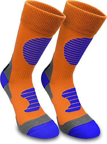 normani 3 Paar Multifunktionale Sportsocken mit Schienbein- & Fußrückenpolster - bestens geeignet als Skating- Inliner- Motorrad- & Trekkingsocken Farbe Orange/Blau Größe 43/46