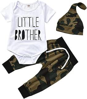 3PCS Newborn Baby Boys Letter Print Bodysuit+Camouflage Pants Legging+Hat Outfit Set