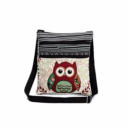 VJGOAL Bestickt Eule Tragen Taschen Frauen Umhängetasche Handtaschen Briefträger Paket (B)