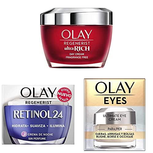 Olay Regenerist Ultra Rich Crema De Día + Crema Hidratante De Noche Con Retinol + Eye Cream para Ojeras, Arrugas y Bolsas