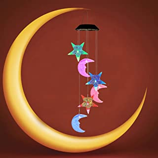 AceList LED-Solar-Wind-Chime-Outdoor, Color Changing Moon and Star Solar Powered Wind Chime Lights for Home, Garden, Patio, Backyard, Balcony, Gifts for Mother's Day, Ramadan, Christmas, New Year