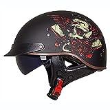 BCCDP Casco de Moto Vintage Retro Half Helmet para Hombre y Mujer Adultos, ECE Homologado Media Casco Moto Scooter -Chopper Patineta Seguridad Ciclomotor Casco M~XXL