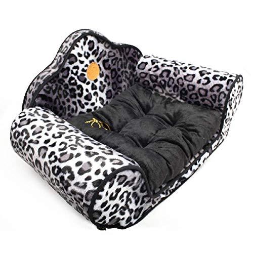 HIGHKAS Pets waschbares weiches bequemes Leopard Shearling-Hunde-/Katzenbett mit Rutschfester Basis
