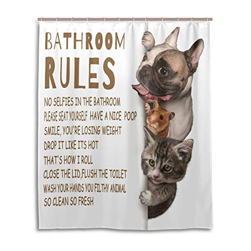 Funny Bathroom Rules Shower Curtain