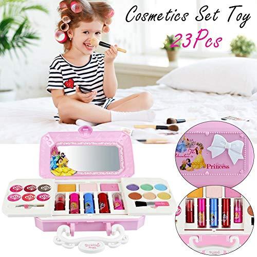 Juego de maquillaje para niños 23 piezas Caja de cosméticos lavables de...