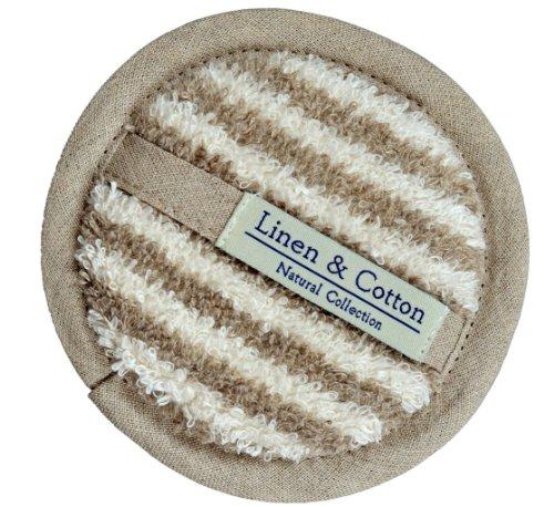 L'éponge en Lin Pour Le Corps et Visage ARIA, 60% Lin, 40% Coton - Rayé (15cm)