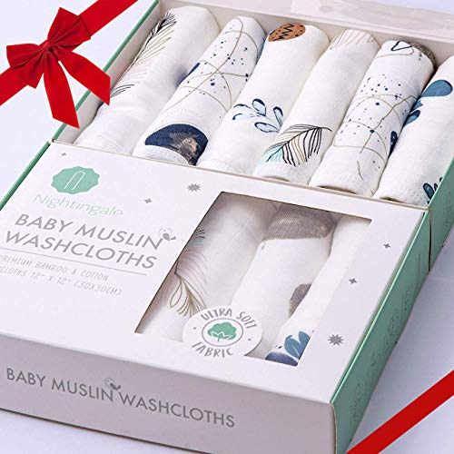 Nightingale Muslin Bamboo Baby Washcloths - Soft Organic Baby Wash Cloths Perfect for Newborn Sensitive Skin - Absorbent Baby Wipes, Burp Cloths or Face Towels - Baby Shower Gift 6 Pack - 12x12 in