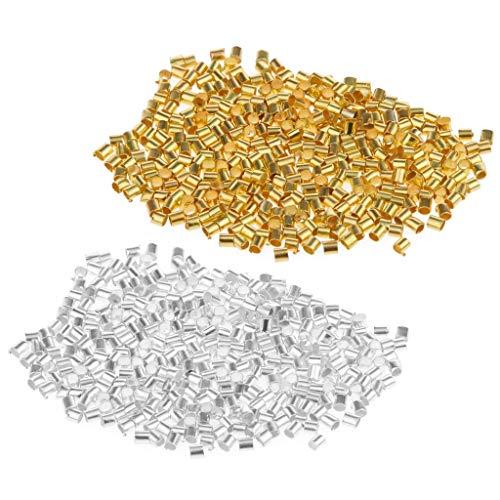 Inzopo 1200 piezas chapado en oro plata cobre encrespadura tubo final cuentas joyería hallazgos 2x2mm