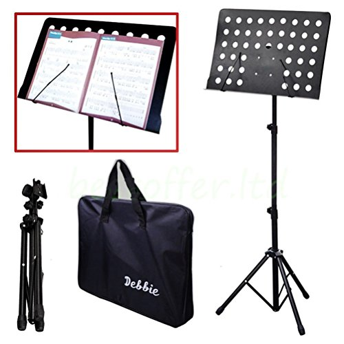 Malayas Heavy Duty Conductor Orchestral Sheet Music Stand Tripod Base Folding Adjustable Height Holder with Bag 50 * 35CM Plate