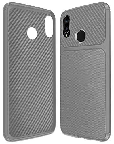 Yoodi Capa para Huawei Nova 3, capa ultrafina de fibra de carbono TPU macio silicone antiderrapante à prova de choque capa de proteção para Huawei Nova 3 - cinza