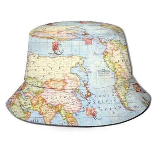 Lawenp Chapeau de pêcheur 3D avec Cachet de la Poste Carte du Monde Chapeau de Seau Pliable Chapeau de Soleil d'été pour Hommes Femmes