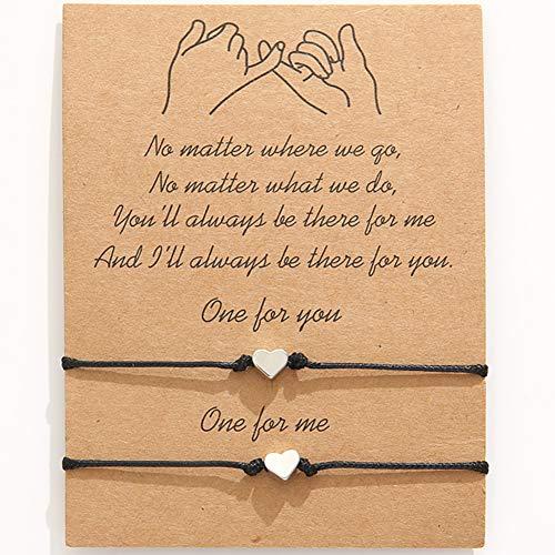 2pcs Promise Distance Infinity Amistad Pulseras Pulsera de cuerda de hilo de cuentas hechas a mano para mujeres, niñas, mejores amigas, parejas (negro)