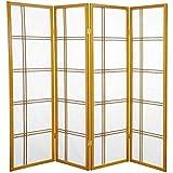 Oriental Furniture 5 ft. Tall Double Cross Shoji Screen - Honey - 4 Panels