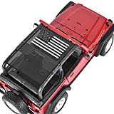 TOAPCAYR TJ Bikini Top Sunshade Mesh Screen Sun Shade Soft Top Front Rear UV Protection Accessories for Jeep Wrangler Accessories TJ (1996-2006) and YJ (1987-1995) in Black & White American Flag Cover
