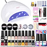PVOY 20 Colors Gel Polish Set 54W LED Light Nail Dryer Curing Lamp Nail Art Drill Starter Kit with Base and Top Coat (3 Timer Setting) with Full DIY Gel Manicure 3D Decoration Nail Tools 7.3ml