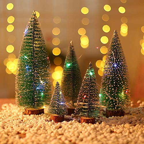 Callm 5pc Mini Christmas Tree with Light Stick White Cedar Desktop Small Christmas Tree Gifts, 3.9/5.9/7.8/9.8/11.8in