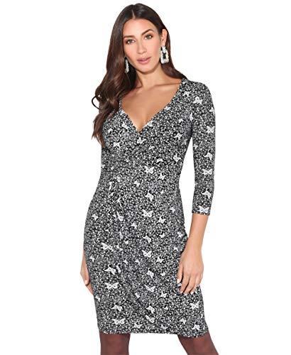 KRISP Vestido Mujer Ajustado Fiesta Invitada Boda Outlet Corto Colores Tallas Grandes Noche Elegante Cóctel, (Negro/Blanco (4273), 38 EU (10 UK)), 4273-BLKWHT-10